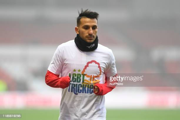 Joao Carvalho of Nottingham Forest warms up with LBGT Trickies logo, showing support for the LBGT+ community during the Sky Bet Championship match...