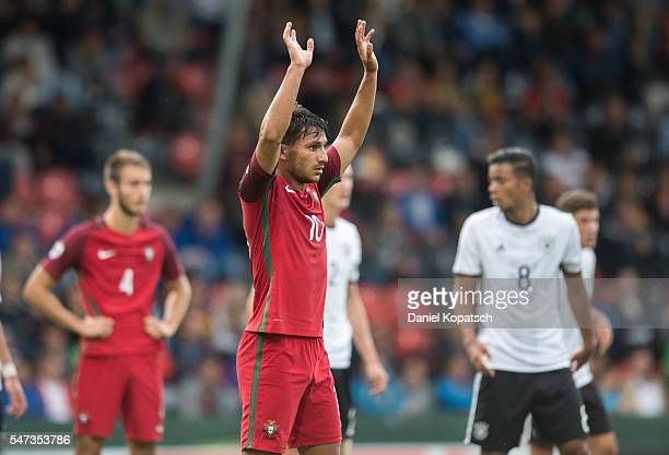 Joao Carvalho of Portugal reacts during the UEFA Under19 European Championship match between U19 Germany and u19 Portugal at mechatronik Arena on...