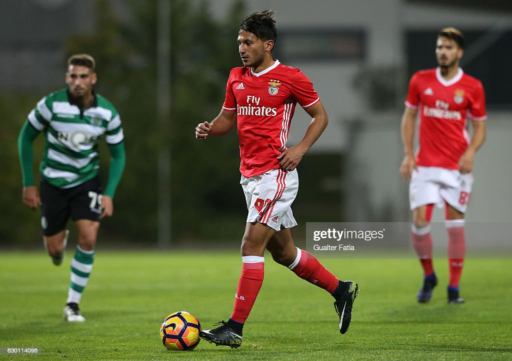 Joao Carvalho of SL Benfica B in action during the Segunda Liga match between SL Benfica B and Sporting CP B at Caixa Futebol Campus on December 16, 2016 in Seixal, Portugal.