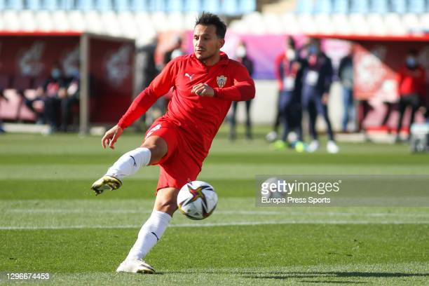 Joao Carvalho of UD Almeria warms up during the spanish cup, Copa del Rey round of 32, football match played between UD Almeria and Deportivo Alaves...