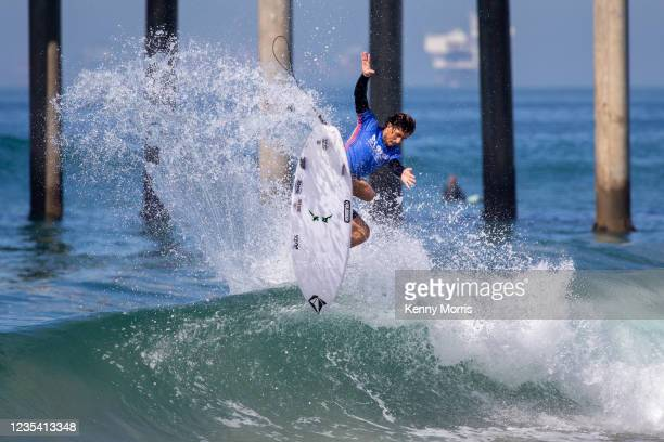 Joao Chianca of Brazil surfs in Heat 1 of the Round of 96 at the US Open of Surfing Huntington Beach presented by Shiseido on September 21, 2021 at...