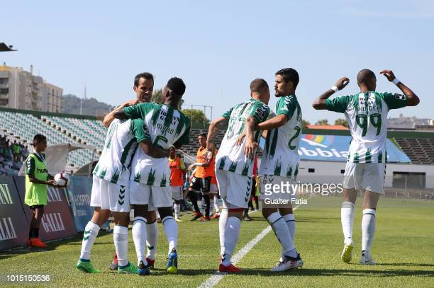 Joao Costinha of Vitoria FC celebrates with teammates after scoring a goal during the Liga NOS match between Vitoria FC and CD Aves at Estadio do...