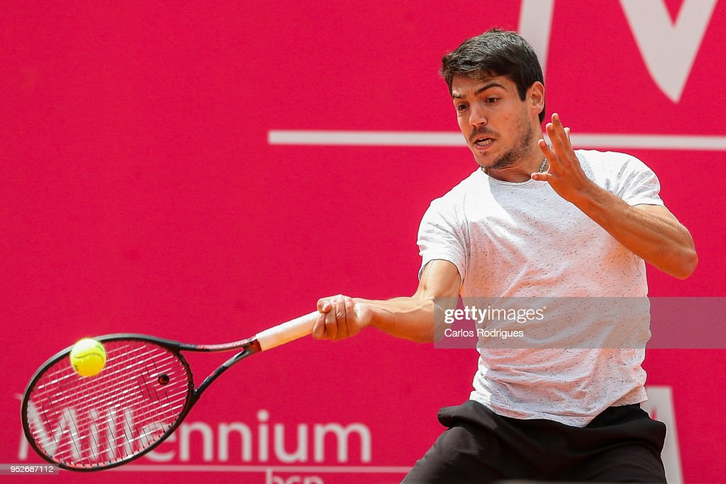 ESTORIL, PORTUGAL - APRIL 29 Joao Domingues from Portugal in action during the match between Joao Domingues and Alessandro Giannessi for Millennium Estoril Open 2018 - Qualify Round 01 at Clube de Tenis do Estoril on April 28, 2018 in Estoril, Portugal.