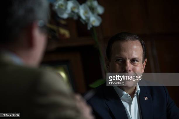 Joao Doria mayor of Sao Paulo listens during an interview at City Hall in Sao Paulo Brazil on Wednesday Nov 1 2017 Six months ago Sao Paulo...