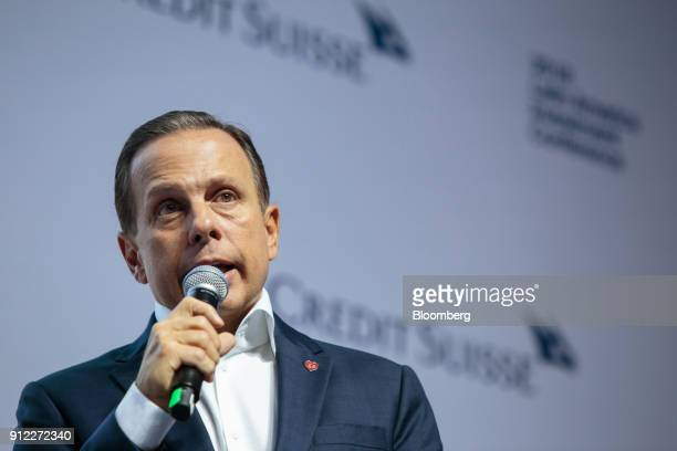 Joao Doria mayor of Sao Paulo speaks during the 2018 Latin America Investment Conference in Sao Paulo Brazil on Tuesday Jan 30 2018 The LAIC features...