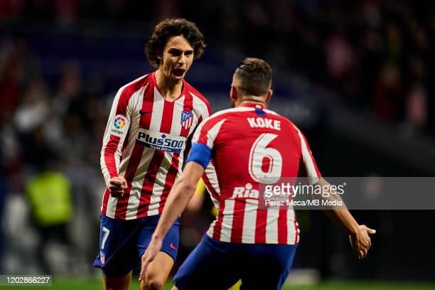 Joao Felix and Jorge Resurreccion 'Koke' of Atletico de Madrid celebrate goal during the Liga match between Club Atletico de Madrid and Villarreal CF...