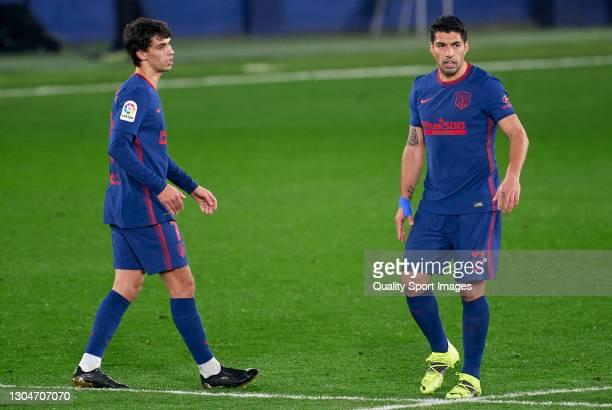 Joao Felix and Luis Suarez of Atletico de Madrid during the La Liga Santander match between Villarreal CF and Atletico de Madrid at Estadio de la...