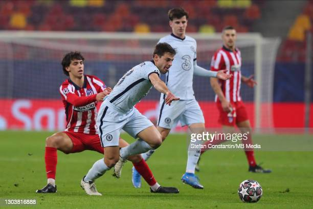 Joao Felix, Cesar Azpilicueta during the UEFA Champions League Round of 16 match between Atletico Madrid and Chelsea FC at National Arena on February...