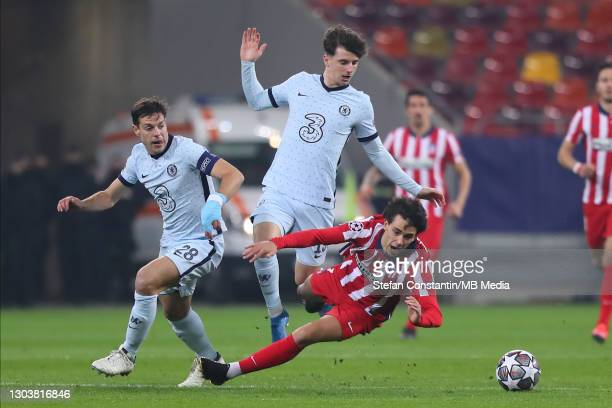 Joao Felix, Mason Mount during the UEFA Champions League Round of 16 match between Atletico Madrid and Chelsea FC at National Arena on February 23,...