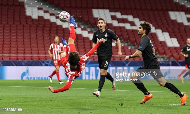 Joao Felix of Atletico de Madrid attempts an over head kick during the UEFA Champions League Group A stage match between Atletico Madrid and RB...