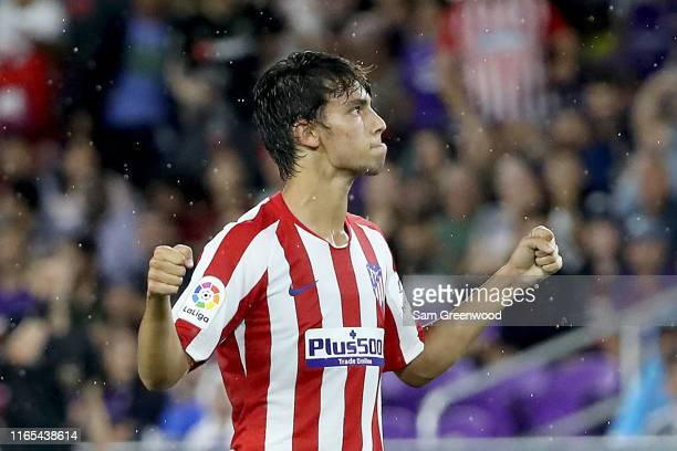 Joao Felix of Atletico de Madrid celbrates after scoring a goal against the MLS AllStars during the 2019 MLS AllStar Game at Exploria Stadium on July...