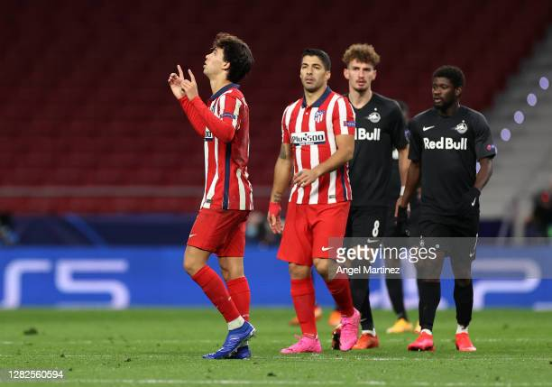 Joao Felix of Atletico de Madrid celebrates after scoring his sides second goal during the UEFA Champions League Group A stage match between Atletico...