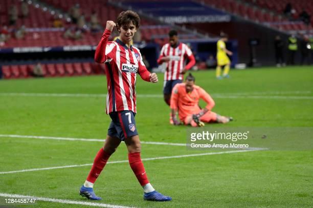 Joao Felix of Atletico de Madrid celebrates after scoring his sides fourth goal during the La Liga Santander match between Atletico de Madrid and...