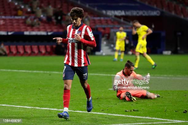 Joao Felix of Atletico de Madrid celebrates after scoring his sides fourth goal during the La Liga Santader match between Atletico de Madrid and...
