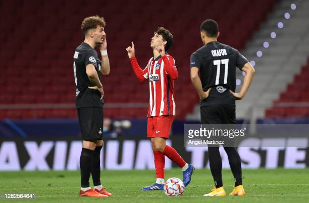 Joao Felix of Atletico de Madrid celebrates after scoring his team's third goal during the UEFA Champions League Group A stage match between Atletico...