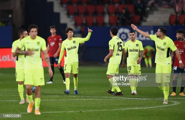 Joao Felix of Atletico de Madrid celebrates after scoring his team's first goal during the La Liga Santander match between C.A. Osasuna and Atletico...