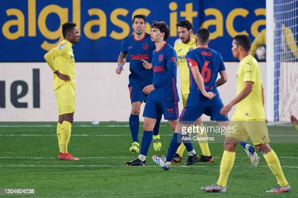Joao Felix of Atletico de Madrid celebrates after scoring his team's second goal during the La Liga Santander match between Villarreal CF and...
