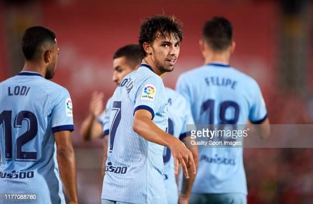 Joao Felix of Atletico de Madrid celebrates scoring his team's goal during the Liga match between RCD Mallorca and Club Atletico de Madrid at...