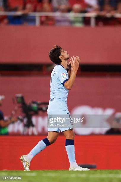 Joao Felix of Atletico de Madrid celebrates scoring his team's second goal during the La Liga match between RCD Mallorca and Club Atletico de Madrid...