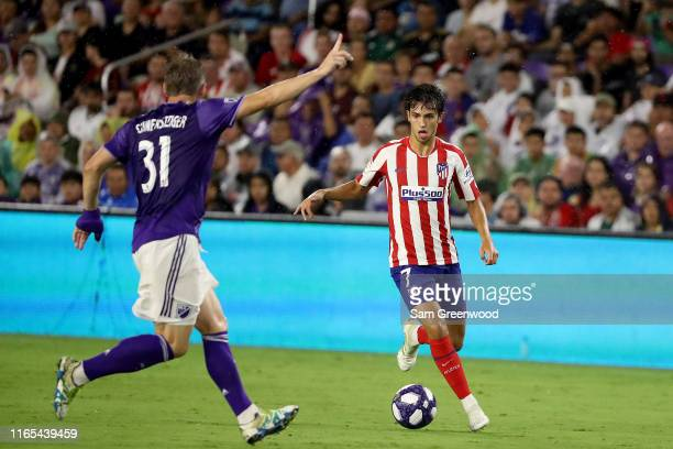Joao Felix of Atletico de Madrid controls the ball against Bastian Schweinsteiger of the MLS AllStars during the 2019 MLS AllStar Game at Exploria...