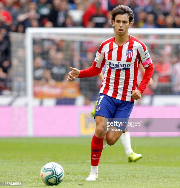 Joao Felix of Atletico de Madrid controls the ball during the Liga match between Club Atletico de Madrid and Valencia CF at Wanda Metropolitano on...