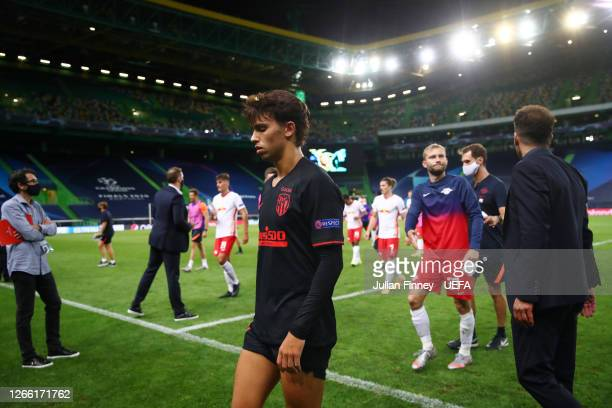 Joao Felix of Atletico de Madrid looks dejected following his team's defeat in the UEFA Champions League Quarter Final match between RB Leipzig and...
