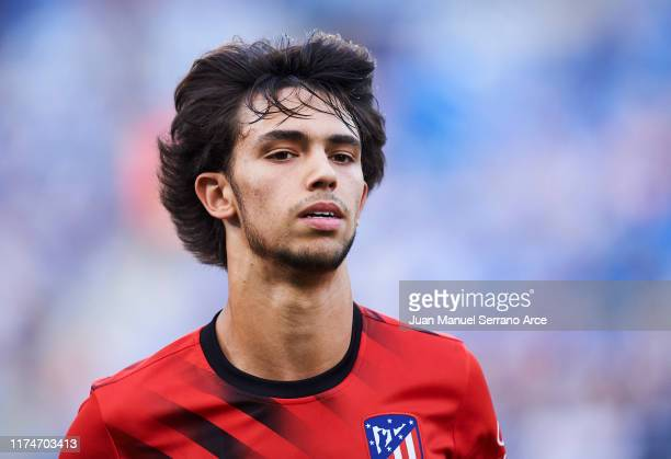 Joao Felix of Atletico de Madrid looks on prior to the warm up during the Liga match between Real Sociedad and Club Atletico de Madrid at Estadio...