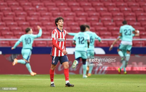 Joao Felix of Atletico de Madrid reacts after conceding their side's first goal, scored by Jose Luis Morales of Levante UD during the La Liga...