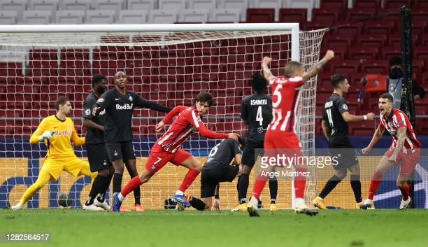 Joao Felix of Atletico de Madrid scores his team's third goal during the UEFA Champions League Group A stage match between Atletico Madrid and RB...