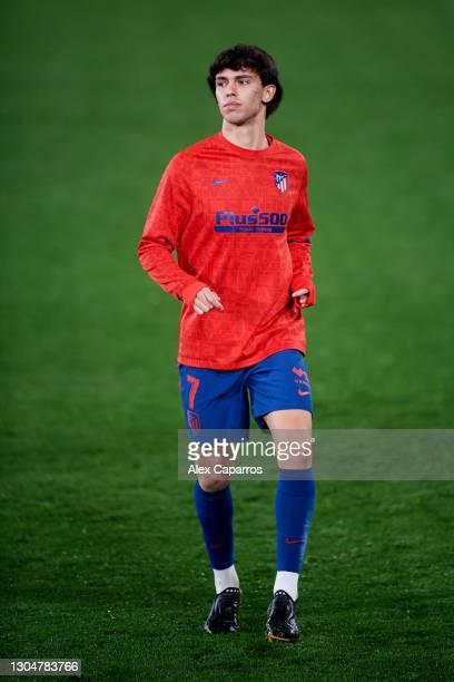 Joao Felix of Atletico de Madrid warms up during half time during the La Liga Santander match between Villarreal CF and Atletico de Madrid at Estadio...