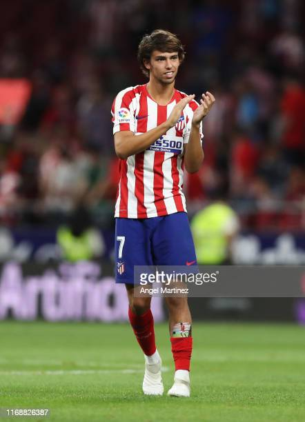 Joao Felix of Atletico Madrid acknowledges the fans after the Liga match between Club Atletico de Madrid and Getafe CF at Wanda Metropolitano on...