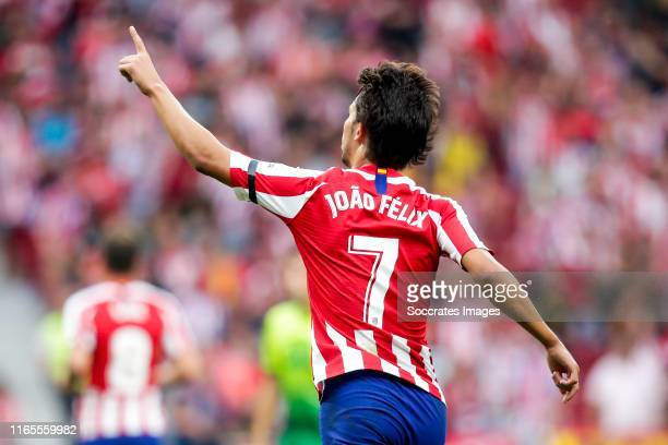 Joao Felix of Atletico Madrid celebrate 12 during the La Liga Santander match between Atletico Madrid v Eibar at the Estadio Wanda Metropolitano on...