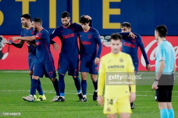 Joao Felix of Atletico Madrid celebrates 0-2 with Felipe of Atletico Madrid during the La Liga Santander match between Villarreal v Atletico Madrid...