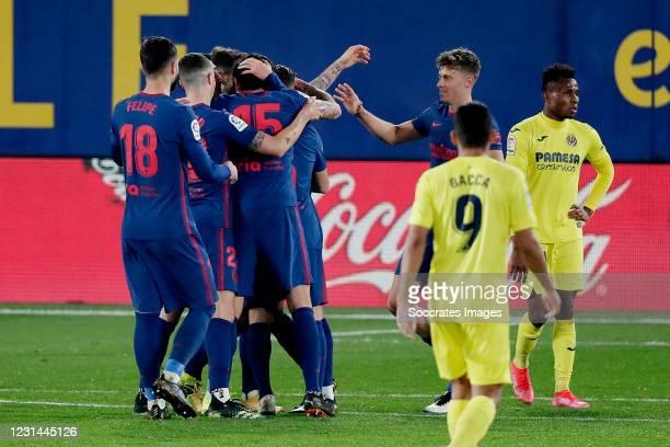Joao Felix of Atletico Madrid celebrates 0-2 with Felipe of Atletico Madrid, Angel Correa of Atletico Madrid, Stefan Savic of Atletico Madrid, Marcos...