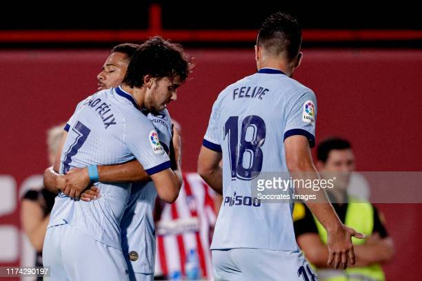 Joao Felix of Atletico Madrid celebrates 0-2 with Renan Lodi of Atletico Madrid during the La Liga Santander match between Real Mallorca v Atletico...