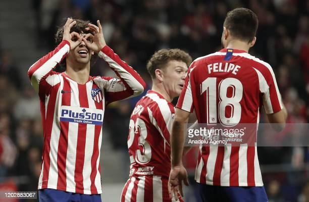 Joao Felix of Atletico Madrid celebrates after scoring a goal during La Liga soccer match between Atletico Madrid and Villarreal at Wanda...