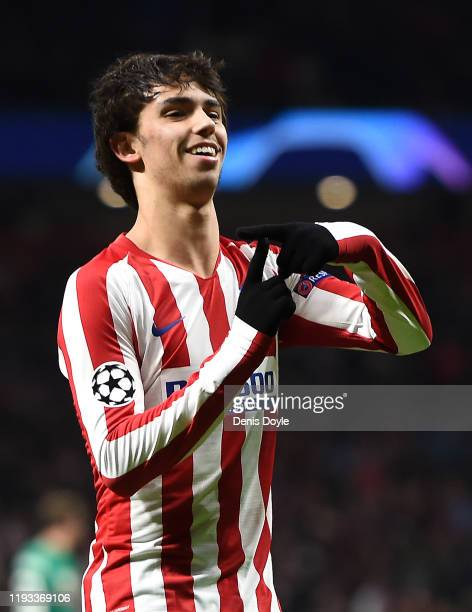 Joao Felix of Atletico Madrid celebrates after scoring his team's first goal from the penalty spot during the UEFA Champions League group D match...