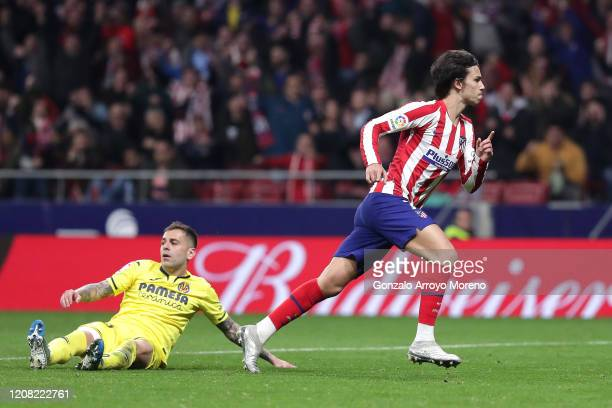 Joao Felix of Atletico Madrid celebrates after scoring his team's third goal during the La Liga match between Club Atletico de Madrid and Villarreal...