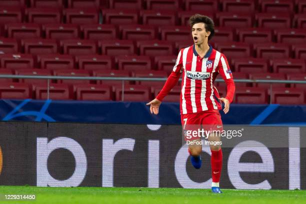 Joao Felix of Atletico Madrid celebrates after scoring his team's second goal during the UEFA Champions League Group A stage match between Atletico...