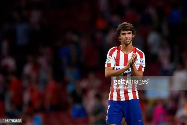 Joao Felix of Atletico Madrid celebrates victory after the Liga match between Club Atletico de Madrid and Getafe CF at Wanda Metropolitano on August...
