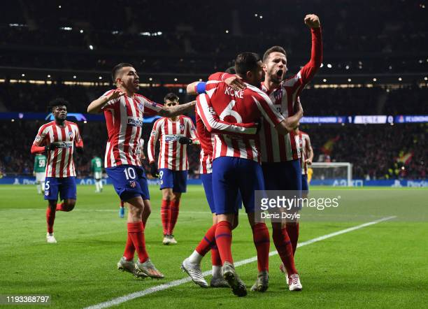Joao Felix of Atletico Madrid celebrates with teammates after scoring his team's first goal during the UEFA Champions League group D match between...
