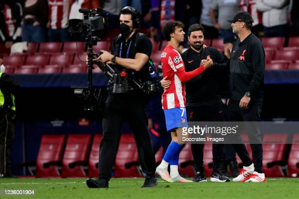 Joao Felix of Atletico Madrid, coach Jurgen Klopp of Liverpool FC during the UEFA Champions League match between Atletico Madrid v Liverpool at the...
