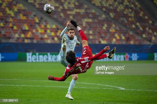 Joao Felix of Atletico Madrid controls the ball during the UEFA Champions League Round of 16 match between Atletico Madrid and Chelsea FC at National...