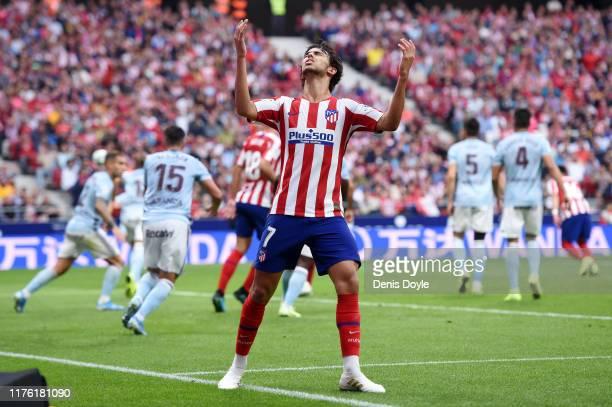 Joao Felix of Atletico Madrid reacts during the Liga match between Club Atletico de Madrid and RC Celta de Vigo at Wanda Metropolitano on September...