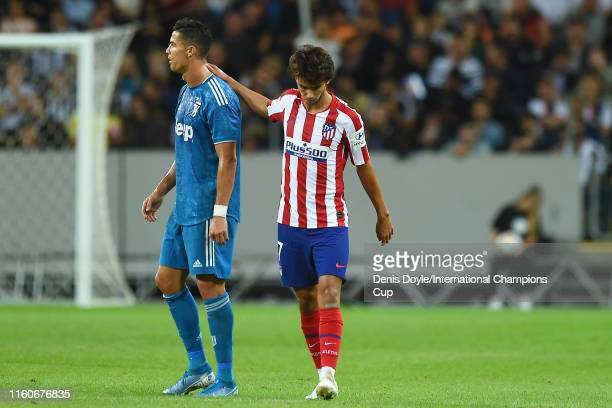 Joao Felix of Atletico Madrid reacts to Cristiano Ronaldo of Juventus after scoring a goal to make the score 10 during the International Champions...