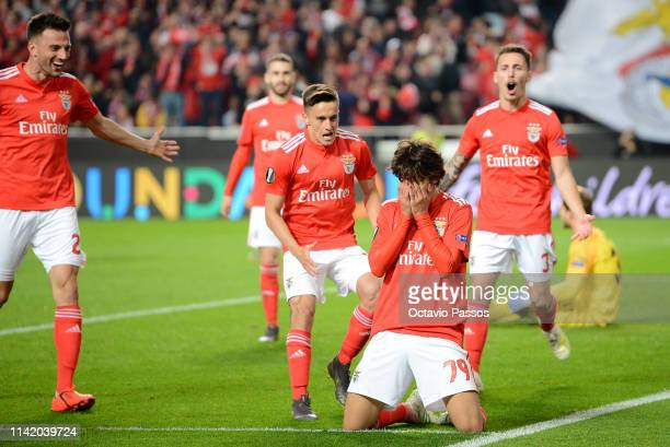Joao Felix of Benfica celebrates after scoring his team's fourth goal during the UEFA Europa League Quarter Final First Leg match between Benfica and...
