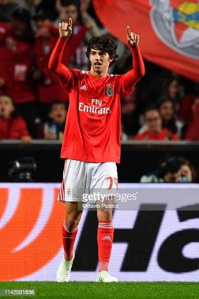 Joao Felix of Benfica celebrates after scoring his team's second goal during the UEFA Europa League Quarter Final First Leg match between Benfica and...
