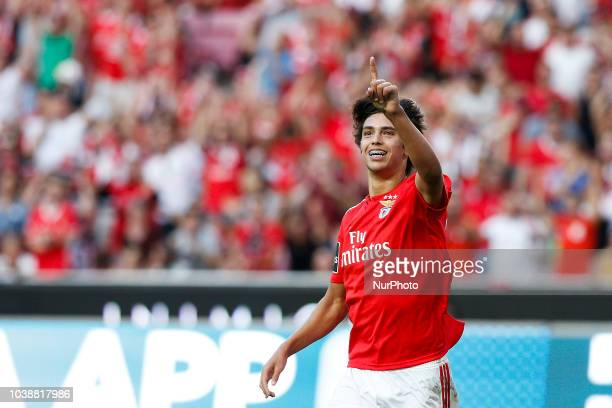 Joao Felix of Benfica celebrates his goal during the Portuguese League football match between SL Benfica and CD Aves at Luz Stadium in Lisbon on...