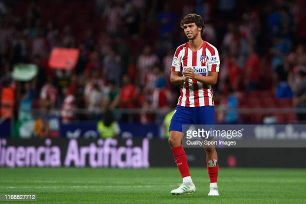 Joao Felix of Club Atletico de Madrid reacts after the Liga match between Club Atletico de Madrid and Getafe CF at Wanda Metropolitano on August 18...