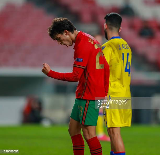Joao Felix of Portugal and Atletico Madrid celebrate after scoring a goal during the International Friendly match between Portugal v Andorra at the...